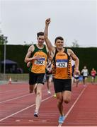 6 July 2019; Callum Crawford-Walker of Annadale Striders, Co. Antrim, right, celebrates winning the U23 800m event, ahead of Roland Surlis of Annalee A.C., Co. Cavan, during the Irish Life Health Junior and U23 Outdoor Track and Field Championships at Tullamore Harriers Stadium, Tullamore in Offaly. Photo by Sam Barnes/Sportsfile