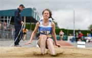 6 July 2019; Emily OMahony of Waterford A.C., Co. Waterford, competing in the Junior Long Jump during the Irish Life Health Junior and U23 Outdoor Track and Field Championships at Tullamore Harriers Stadium, Tullamore in Offaly. Photo by Sam Barnes/Sportsfile