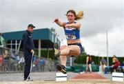 6 July 2019; Katelyn Farrelly of Tullamore Harriers A.C., Co. Offaly, competing in the Junior Long Jump during the Irish Life Health Junior and U23 Outdoor Track and Field Championships at Tullamore Harriers Stadium, Tullamore in Offaly. Photo by Sam Barnes/Sportsfile