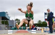 6 July 2019; Elizabeth Morland of Cushinstown A.C., Co. Meath, on her way to winning the U23 Long Jump event during the Irish Life Health Junior and U23 Outdoor Track and Field Championships at Tullamore Harriers Stadium, Tullamore in Offaly. Photo by Sam Barnes/Sportsfile
