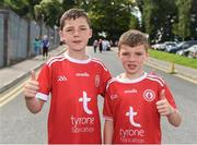 6 July 2019; Tyrone supporters Oisin and Finn Carson from Newtownbutler before the GAA Football All-Ireland Senior Championship Round 4 match between Cavan and Tyrone at St. Tiernach's Park in Clones, Monaghan. Photo by Oliver McVeigh/Sportsfile