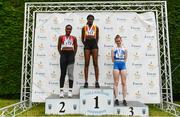 6 July 2019;  Junior Women 100m medallists, from left, Patience Jumbo-Gula of Dundalk St. Gerards A.C., Co. Louth, silver, Rhasidat Adeleke of Tallaght A.C., Co. Dublin, gold, and Alannah McGuiness of Carrick-on-Shannon A.C., Co. Leitrim, bronze, during the Irish Life Health Junior and U23 Outdoor Track and Field Championships at Tullamore Harriers Stadium, Tullamore in Offaly. Photo by Sam Barnes/Sportsfile