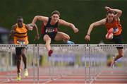 6 July 2019; Aaron Tierney Smith of Menapians A.C., Co.Wexford, centre, on his way to winning the Junior 110m Hurdles, ahead of Joseph McEvoy of Nenagh Olympic A.C., Co. Tipperary, right, who finished second, during the Irish Life Health Junior and U23 Outdoor Track and Field Championships at Tullamore Harriers Stadium, Tullamore in Offaly. Photo by Sam Barnes/Sportsfile