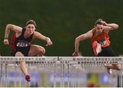 6 July 2019; Aaron Tierney Smith of Menapians A.C., Co.Wexford, left, on his way to winning the Junior 110m Hurdles, ahead of Joseph McEvoy of Nenagh Olympic A.C., Co. Tipperary, right, who finished second, during the Irish Life Health Junior and U23 Outdoor Track and Field Championships at Tullamore Harriers Stadium, Tullamore in Offaly. Photo by Sam Barnes/Sportsfile