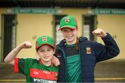 6 July 2019; Mayo fans Kelly Biggins, age 8, left, and Anna Biggins, age 12, from Shrule, Mayo prior to the GAA Football All-Ireland Senior Championship Round 4 match between Galway and Mayo at the LIT Gaelic Grounds in Limerick. Photo by Eóin Noonan/Sportsfile