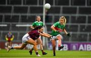 6 July 2019; Sarah Rowe of Mayo in action against Charlotte Cooney of Galway during the 2019 TG4 Connacht Ladies Senior Football Final replay between Galway and Mayo at the LIT Gaelic Grounds in Limerick. Photo by Brendan Moran/Sportsfile