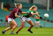 6 July 2019; Sarah Rowe of Mayo in action against Sinead Burke of Galway during the 2019 TG4 Connacht Ladies Senior Football Final replay between Galway and Mayo at the LIT Gaelic Grounds in Limerick. Photo by Brendan Moran/Sportsfile