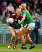 6 July 2019; Olivia Divilly of Galway in action against Grace Kelly of Mayo during the 2019 TG4 Connacht Ladies Senior Football Final replay between Galway and Mayo at the LIT Gaelic Grounds in Limerick. Photo by Brendan Moran/Sportsfile
