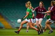 6 July 2019; Sarah Rowe of Mayo has a shot on goal despite the efforts of Sarah Lynch and Sinead Burke of Galway during the 2019 TG4 Connacht Ladies Senior Football Final replay between Galway and Mayo at the LIT Gaelic Grounds in Limerick. Photo by Brendan Moran/Sportsfile