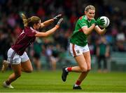 6 July 2019; Grace Kelly of Mayo in action against Charlotte Cooney of Galway during the 2019 TG4 Connacht Ladies Senior Football Final replay between Galway and Mayo at the LIT Gaelic Grounds in Limerick. Photo by Brendan Moran/Sportsfile