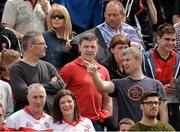 2 June 2013; Former Derry players, and memebers of the 1993 All-Ireland winning team, from left, Damien McCusker, Enda Gormley and Fergal McCusker at the game. Ulster GAA Football Senior Championship, Quarter-Final, Derry v Down, Celtic Park, Derry. Picture credit: Oliver McVeigh / SPORTSFILE