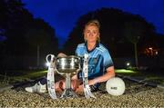 8 July 2019; #FollowOurJourney: The journey to Croke Park for the participating contenders in the 2019 TG4 Ladies Football Championships begins on Saturday, 13 July. Senior Champions Dublin will feature on a LIVE TG4 double-bill when they take on Munster runners-up Waterford, while Connacht Champions Galway are up against Kerry. 17 Championship games will be broadcast exclusively on TG4 throughout the summer, with the Senior and Intermediate championships to be played once again on a round-robin basis. You can follow the journey of all 32 teams involved in the Senior, Intermediate and Junior Championships, as they aim to make it Croke Park for TG4 All-Ireland Finals Sunday on 15 September. A number of top inter-county stars travelled to the spectacular Ballynahinch Castle Hotel in county Galway to mark the beginning of the TG4 All-Ireland series. Pictured is Carla Rowe of Dublin with the Brendan Martin Cup. #ProperFan. Photo by Brendan Moran/Sportsfile