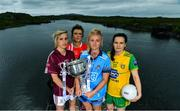 8 July 2019; #FollowOurJourney: The journey to Croke Park for the participating contenders in the 2019 TG4 Ladies Football Championships begins on Saturday, 13 July. Senior Champions Dublin will feature on a LIVE TG4 double-bill when they take on Munster runners-up Waterford, while Connacht Champions Galway are up against Kerry. 17 Championship games will be broadcast exclusively on TG4 throughout the summer, with the Senior and Intermediate championships to be played once again on a round-robin basis. You can follow the journey of all 32 teams involved in the Senior, Intermediate and Junior Championships, as they aim to make it Croke Park for TG4 All-Ireland Finals Sunday on 15 September. A number of top inter-county stars travelled to the spectacular Ballynahinch Castle Hotel in county Galway to mark the beginning of the TG4 All-Ireland series. Pictured are, from left, Tracey Leonard of Galway, Doireann O'Sullivan of Cork, Carla Rowe of Dublin, and Geraldine McLaughlin of Donegal with the Brendan Martin Cup. #ProperFan. Photo by Brendan Moran/Sportsfile