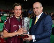 6 July 2019; Galway captain Tracey Leonard is presented with the TG4 Player of the Match by Liam McDonagh, President of the Connacht Council, after the 2019 TG4 Connacht Ladies Senior Football Final replay between Galway and Mayo at the LIT Gaelic Grounds in Limerick. Photo by Brendan Moran/Sportsfile