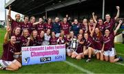 6 July 2019; The Galway team celebrate with the cup after the 2019 TG4 Connacht Ladies Senior Football Final replay between Galway and Mayo at the LIT Gaelic Grounds in Limerick. Photo by Brendan Moran/Sportsfile