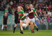 6 July 2019; Tracey Leonard of Galway in action against Éilis Roynane of Mayo during the 2019 TG4 Connacht Ladies Senior Football Final replay between Galway and Mayo at the LIT Gaelic Grounds in Limerick. Photo by Brendan Moran/Sportsfile