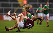 6 July 2019; Danielle Caldwell of Mayo in action against Mairead Seoighe of Galway during the 2019 TG4 Connacht Ladies Senior Football Final replay between Galway and Mayo at the LIT Gaelic Grounds in Limerick. Photo by Brendan Moran/Sportsfile