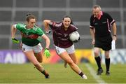 6 July 2019; Charlotte Cooney of Galway in action against Clodagh McManamon of Mayo during the 2019 TG4 Connacht Ladies Senior Football Final replay between Galway and Mayo at the LIT Gaelic Grounds in Limerick. Photo by Brendan Moran/Sportsfile