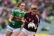 6 July 2019; Tracey Leonard of Galway in action against Ciara McManamon of Mayo during the 2019 TG4 Connacht Ladies Senior Football Final replay between Galway and Mayo at the LIT Gaelic Grounds in Limerick. Photo by Brendan Moran/Sportsfile