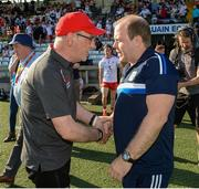 6 July 2019; Tyrone Manager Mickey Harte and Cavan Manager Mickey Graham shake hands after the GAA Football All-Ireland Senior Championship Round 4 match between Cavan and Tyrone at St. Tiernach's Park in Clones, Monaghan. Photo by Oliver McVeigh/Sportsfile