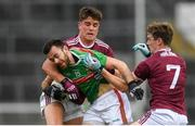 6 July 2019; Kevin McLoughlin of Mayo in action against Seán Kelly, left and John Daly of Galway during the GAA Football All-Ireland Senior Championship Round 4 match between Galway and Mayo at the LIT Gaelic Grounds in Limerick. Photo by Eóin Noonan/Sportsfile