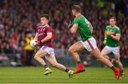 6 July 2019; Eoghan Kerin of Galway in action against Aidan O'Shea of Mayo during the GAA Football All-Ireland Senior Championship Round 4 match between Galway and Mayo at the LIT Gaelic Grounds in Limerick. Photo by Brendan Moran/Sportsfile