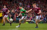 6 July 2019; Patrick Durcan of Mayo in action against Sean Andy Ó Ceallaigh of Galway during the GAA Football All-Ireland Senior Championship Round 4 match between Galway and Mayo at the LIT Gaelic Grounds in Limerick. Photo by Brendan Moran/Sportsfile