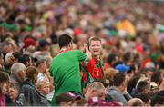 6 July 2019; Mayo supporters celebrate after their side score a point during the GAA Football All-Ireland Senior Championship Round 4 match between Galway and Mayo at the LIT Gaelic Grounds in Limerick. Photo by Eóin Noonan/Sportsfile