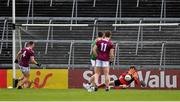 6 July 2019; David Clarke of Mayo saves a penalty from Liam Silke of Galway during the GAA Football All-Ireland Senior Championship Round 4 match between Galway and Mayo at the LIT Gaelic Grounds in Limerick. Photo by Brendan Moran/Sportsfile