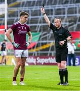 6 July 2019; Michael Daly of Galway is shown a black card by referee Joe McQuillan during the GAA Football All-Ireland Senior Championship Round 4 match between Galway and Mayo at the LIT Gaelic Grounds in Limerick. Photo by Brendan Moran/Sportsfile