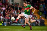 6 July 2019; Donal Vaughan of Mayo kicks a late point during the GAA Football All-Ireland Senior Championship Round 4 match between Galway and Mayo at the LIT Gaelic Grounds in Limerick. Photo by Brendan Moran/Sportsfile