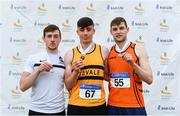 6 July 2019; Junior men's javelin medallists, from left, Christian O'Connell of Limerick AC, Co. Limerick, silver, Cathal Scanlon of Leevale A.C., Co. Cork, gold, and Joseph McEvoy of Nenagh Olympic A.C., Co. Tipperary, bronze, during the Irish Life Health Junior and U23 Outdoor Track and Field Championships at Tullamore Harriers Stadium, Tullamore in Offaly. Photo by Sam Barnes/Sportsfile
