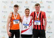 6 July 2019; Junior Men discus medallists, from left, Sean Carolan of Nenagh Olympic A.C., Co. Tipperary, silver, Padraig Hore of D.M.P. A.C., Co. Tipperary, gold, and Sean Mockler of Moycarkey Coolcroo A.C., Co. Tipperary, bronze,  during the Irish Life Health Junior and U23 Outdoor Track and Field Championships at Tullamore Harriers Stadium, Tullamore in Offaly. Photo by Sam Barnes/Sportsfile