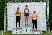 6 July 2019; Junior Women's Javelin medallists, from left, Katie Moynihan of Leevale A.C., Co. Cork, silver, Katherine OConnor of Dundalk St. Gerards A.C., Co. Louth,  gold, and Aoibhinn McMahon of Blackrock A.C., Co Louth, bronze,  during the Irish Life Health Junior and U23 Outdoor Track and Field Championships at Tullamore Harriers Stadium, Tullamore in Offaly. Photo by Sam Barnes/Sportsfile