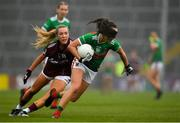 6 July 2019; Niamh Kelly of Mayo in action against Megan Glynn of Galway during the 2019 TG4 Connacht Ladies Senior Football Final replay between Galway and Mayo at the LIT Gaelic Grounds in Limerick. Photo by Brendan Moran/Sportsfile