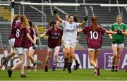 6 July 2019; Galway players, including goalkeeper Lisa Murphy, celebrate at the final whistle of the 2019 TG4 Connacht Ladies Senior Football Final replay between Galway and Mayo at the LIT Gaelic Grounds in Limerick. Photo by Brendan Moran/Sportsfile