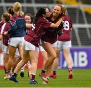 6 July 2019; Fabienne Cooney, left, and Olivia Divilly of Galway celebrate at the final whistle of the 2019 TG4 Connacht Ladies Senior Football Final replay between Galway and Mayo at the LIT Gaelic Grounds in Limerick. Photo by Brendan Moran/Sportsfile