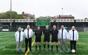 5 May 2019; Referee Conor Lane with his officials before the Connacht GAA Football Senior Championship Quarter-Final match between New York and Mayo at Gaelic Park in New York, USA. Photo by Piaras Ó Mídheach/Sportsfile
