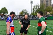 5 May 2019; Referee Conor Lane with team captains Niall Madine of New York and Paddy Durcan of Mayo before the Connacht GAA Football Senior Championship Quarter-Final match between New York and Mayo at Gaelic Park in New York, USA. Photo by Piaras Ó Mídheach/Sportsfile