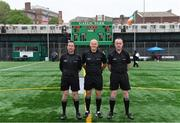 5 May 2019; Referee Conor Lane with linesmen Eamon O'Grady, left, and Brendan Healy before the Connacht GAA Football Senior Championship Quarter-Final match between New York and Mayo at Gaelic Park in New York, USA. Photo by Piaras Ó Mídheach/Sportsfile