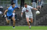 6 July 2019; Eoin Bagnall of Kildare in action against Luke Murphy-Guinane of Dublin during the Electric Ireland Leinster GAA Football Minor Championship Final match between Dublin and Kildare at Páirc Tailteann in Navan, Meath. Photo by Piaras Ó Mídheach/Sportsfile