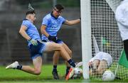 6 July 2019; Luke Swan of Dublin, left, scores his side's first goal, as team-mate Ross Keogh looks on, during the Electric Ireland Leinster GAA Football Minor Championship Final match between Dublin and Kildare at Páirc Tailteann in Navan, Meath. Photo by Piaras Ó Mídheach/Sportsfile