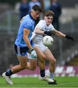 6 July 2019; Luke Swan of Dublin in action against PJ Cullen of Kildare during the Electric Ireland Leinster GAA Football Minor Championship Final match between Dublin and Kildare at Páirc Tailteann in Navan, Meath. Photo by Piaras Ó Mídheach/Sportsfile