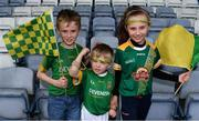 7 July 2019; Meath supporters from left, Conor Mulchrone, aged 8, Charlie Mulchrone, aged 5, and Caoimhe Mulchrone, aged 10, from Navan, Co. Meath, during the GAA Football All-Ireland Senior Championship Round 4 match between Meath and Clare at O'Moore Park in Portlaoise, Laois. Photo by Sam Barnes/Sportsfile