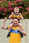 7 July 2019; Flan King, with his son Cormac, aged 5, from Ennis, Co. Clare, ahead of the GAA Football All-Ireland Senior Championship Round 4 match between Meath and Clare at O'Moore Park in Portlaoise, Laois. Photo by Sam Barnes/Sportsfile