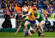 7 July 2019; Seán O'Donoghue of Clare in action against Padraic Harnan, left, and Donal Keogan of Meath during the GAA Football All-Ireland Senior Championship Round 4 match between Meath and Clare at O'Moore Park in Portlaoise, Laois. Photo by Sam Barnes/Sportsfile