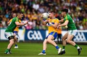 7 July 2019; Jamie Malone of Clare in action against Séamus Lavin, right, and Shane McEntee of Meath during the GAA Football All-Ireland Senior Championship Round 4 match between Meath and Clare at O'Moore Park in Portlaoise, Laois. Photo by Sam Barnes/Sportsfile