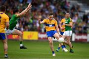 7 July 2019; Eoin Cleary of Clare has his shot closed down by Séamus Lavin of Meath during the GAA Football All-Ireland Senior Championship Round 4 match between Meath and Clare at O'Moore Park in Portlaoise, Laois. Photo by Sam Barnes/Sportsfile