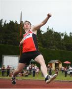 7 July 2019; Darragh Kirk of Lifford Strabane A.C., Co. Donegal, competing in the U18 Boys Javelin during the Irish Life Health Juvenile Track and Field Championships Tullamore Harriers Stadium, Tullamore in Offaly. Photo by Eóin Noonan/Sportsfile