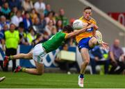 7 July 2019; Eoin Cleary of Clare has his shot blocked by Donal Keogan of Meath during the GAA Football All-Ireland Senior Championship Round 4 match between Meath and Clare at O'Moore Park in Portlaoise, Laois. Photo by Sam Barnes/Sportsfile